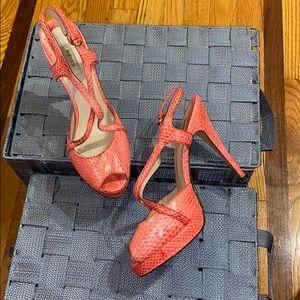 Pink Python Snake Skin Sandals